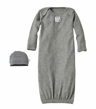 Burt's Bees Essentials Organic Baby Gown 0-6 months, Set of 2 - Gray NEW