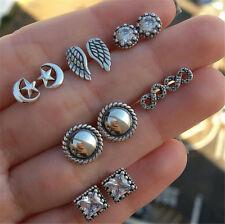 Set Fashion earring 6 Pairs Earrings Rhinestone Crystal Wings Peral Ear Stud