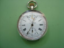 SILVER CHRONOGRAPH POCKET WATCH Kendal & Dent. Suppliers to the Admiralty.