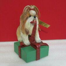 Danbury Mint All Wrapped Up Shih Tzu Season Christmas Hanging Ornament