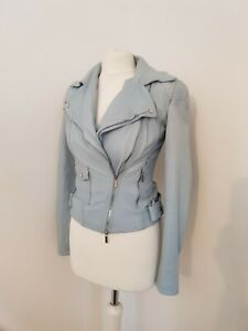 Karen Millen Pale Blue Leather Biker Jacket Uk 8 Us 4 Eu 36