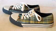Place Ladies canvas Tennis Athletic multi color plaid Shoes sz 5 104