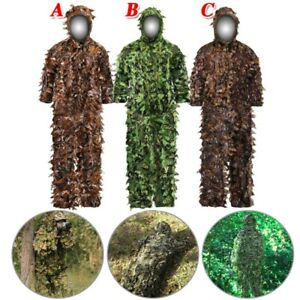 3D Tactical Ghillie Suit Camouflage Leaves Forest Hunting Camo Jacket&Pants Set