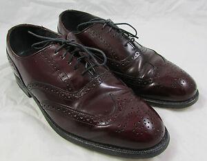 Vtg Dexter Mens USA Burgundy Leather Heavy Wingtip Oxford Dress Shoes Sz 10.5