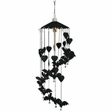 Black Bat Wooden & Paper Hand Made Thai Gothic Hanging Mobile 80cm Tall