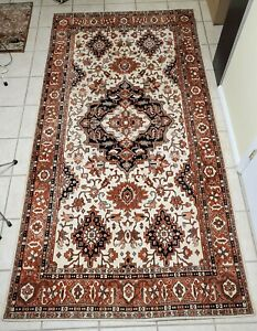 Vintage Machine Made Textile Tapestry Rug Heriz Design