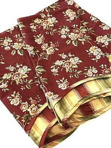 NEW 2 Waverly Valance Curtain 17x78 Red Rust Green Tan Stripe Floral Scalloped