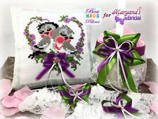 Purple Green Love Birds Ring Pillow & Flower Basket Wedding Set FREE Garter #1