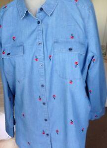 Womens Plus 3X 24 chambray shirt w embroid button up Liz Claiborne NWT