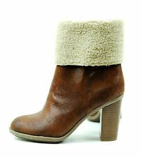 Tall Mid Calf Thick Chunky High Heel Brown Winter Fur Fashion Boots Booties