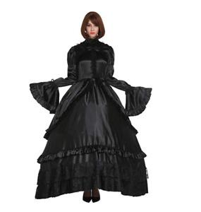 Sissy Girl Lockable Gothic Lolita Punk Satin Dress Crossdress Big Sleeve Costume