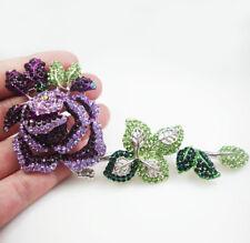 "5.3"" New Beautiful Purple Rose Flower Gold Tone Brooch Pin Rhinestone Crystal"