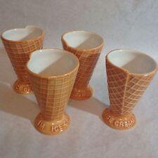 Williams Sonoma set of 4 Ice Cream Bowls Sundae Dish Waffle Cone Bowls cups