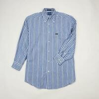 FACONNABLE Button Front Dress Shirt Long Sleeve Blue Striped Mens S