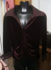 Tadashi Burgandy Velvet Dressy Top P Petite Ruched Party Beautiful