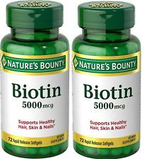 Nature's Bounty Biotin 5000 mcg Liquid Softgels 72 ea (Pack of 2)