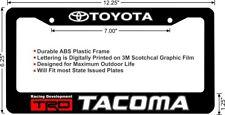 TOYOTA TRD TACOMA White Lettering Custom License Plate Frame