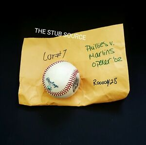 Philadelphia Phillies Opening Day Game Used Baseball MLB Authenticated 4/5/2002