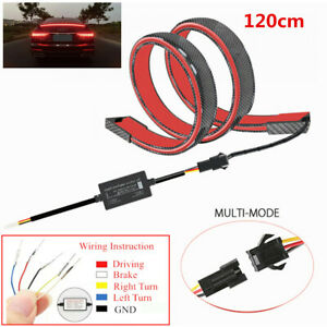 1.2M LED Tail Brake Turn Flowing Light Rear Trunk Roof Car Spoiler Tail Wing Lid