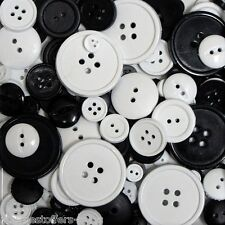 Black and White Buttons Sewing Buttons Round Buttons Craft Supplies Assorted New