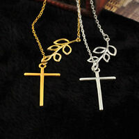 1PC Fashion Branch Cross Leaf Cross Pendant Charm Plated Chain Necklace Jewelry