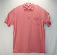 Peter Millar Mens Size Large Pink Shirt Polo Short Sleeve Cotton Button EUC