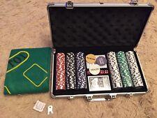 300 PC Casino Poker Game Chips Set  2 Decks 5 Colour Dice, Aluminium Carry Case