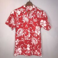 Hukilau Fashions | VTG Mens Size L Red White Floral Hawaiian Shirt Button Front