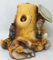 Vintage Sculpted Candle Elf Gnome Wax Tree Stump Owl