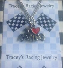 I love racing pewter charm silvertone necklace  automotive racing jewelry