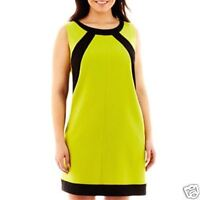Lime Colorblock Shift Dress Plus By London Collection New Sizes 22W, 24W