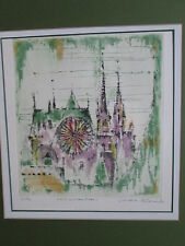 ~ Chartres France Cathedral Watercolor Print Litho Vintage Signed (3/50) '72