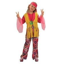 GIRLS HIPPIE GIRL HIPPY 60'S 70'S FANCY DRESS COSTUME