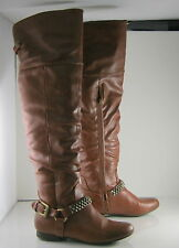 new ladies Tan Flat Round Toe Sexy THigh High  over knee Boots Size  7