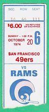 10-20-74 San Francisco 49ers at Los Angeles Rams NFL Football Ticket Stub