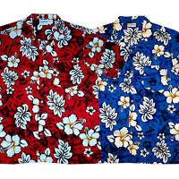 Hawaii Hemd Classic Größe S - 8XL 100% Baumwolle Hawaiihemd rot blau Blüten