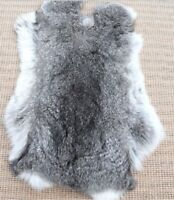High Quality Soft Natural Gray Rabbit Skin Pelt Real Fur Craft Decretive 8-14''