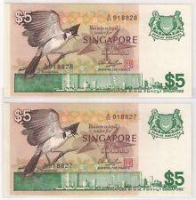 Singapore S$5 x2pcs running, 2rd series Bird (UNC)