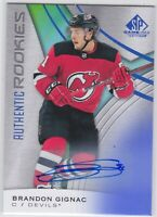 19/20 SP GAME USED...BRANDON GIGNAC...AUTHENTIC ROOKIES AUTO...# 112...DEVILS