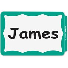 100 Name Badges Peel Amp Stick Green Border Tags Labels Sticker Adhesive Id