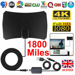 1800Miles Indoor HD Digital TV Antenna Aerial Signal Amplified 4K 1080P Freeview
