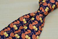 TM Lewin & Sons Blue Orange Vine and Berries Fruit 100% Silk Tie Made in England