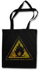 CAUTION FLAMMABLE SIGN HIPSTER BAG - Stofftasche Stoffbeutel - Warning Fire Logo