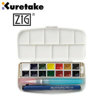 ZIG Kuretake Transparent Watercolour Set 14 Colours + Water Brush + Drawing Pen