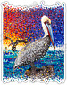 "Pelican Pixels Bird Seagull Ocean Abstract Car Bumper Vinyl Sticker Decal 4""X5"""