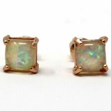 White Ethiopian Opal Stud Earrings Engagement Jewelry 14K Rose Gold Plated Gift