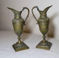 pair of antique 19th century Victorian ornamental bronze brass ewers urn vase