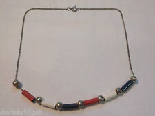 """Vintage 15 1/4"""" Red, White, Blue & Silver Tone Necklace"""