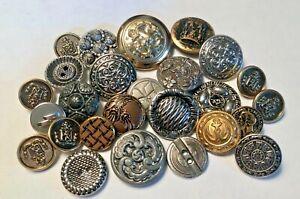 Antique & Vintage Metal Picture Button Lot, Assorted Designs & Sizes