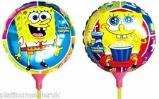 (SET OF 10) SPONGEBOB ROUND FOIL BALLOONS WITH STICKS  **UK PARTY SUPPLIES**